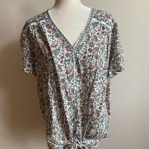 Max studio BNWT green floral print top blouse 2X